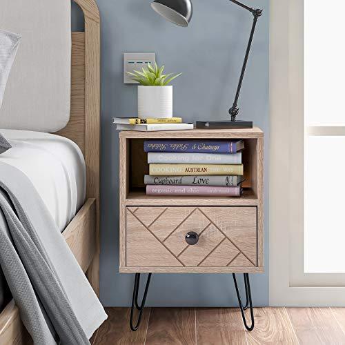 YHNHT - Cassettiera con 1 cassetto, comodino, cassettiera in legno, con robuste gambe in metallo per camera da letto e soggiorno