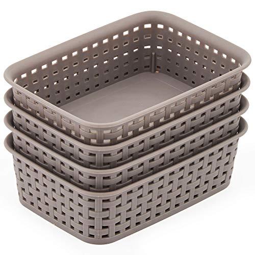 EZOWare 4 pcs Pequeño Cestas de Almacenaje Multiuso, Cajas Bandeja Organizadoras Rectangular de Plástico con Efecto de Mimbre para Cajones, Estantes Cocina, Baño - Gris, 19,5 x 13,5 x 6 cm