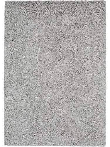 benuta 4053894019579 Shaggy Langflor Hochflor Teppich Swirls schadstofffrei, Uni - Maschinengewebt, Kunstfaser, grau, 80 x 150 x 3 cm
