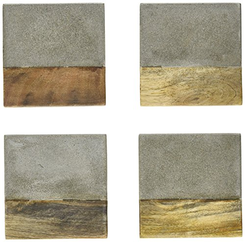 Creative Co-Op Set of 4 Cement & Wood Coasters