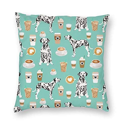 Dalmatians Cute Mint Coffee Best Dalmatian Dog Print Super Soft Pillow Covers Square Decorative Pillowcase for Bed Couch Sofa Bench