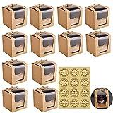 12 Piezas Cajas de Papel para Cupcake con Ventana para Cumpleaños Boda Fiesta Comunion Navidad,9 * 9 * 9cm/3.54 * 3.54 * 3.54in,Pegatinas Gratis