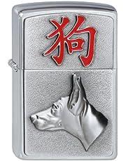 Zippo tändare 2002458 2006 hundens år bensintändare, mässing, satinkrom, 1 x 3,5 x 5,5 cm