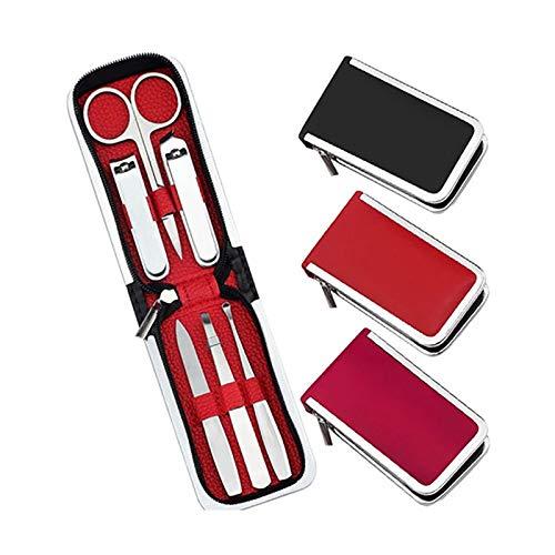 ASFF Conjuntos de manicura 6 cortauñas Piezas Conjunto portátil de uñas de manicura del Cuidado del Acero Inoxidable Cortador Kit de Aseo para Viajes o hogares (Color : Rose Red, Size : 15.5x8.5CM)