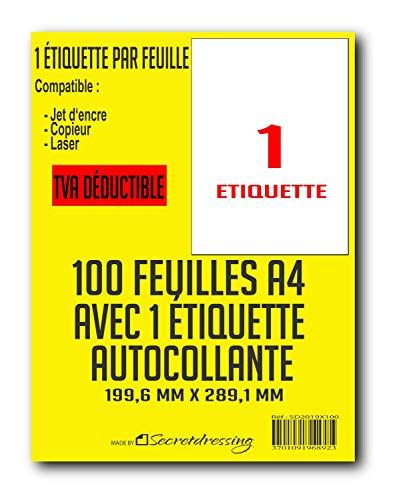 SECRETDRESSING ® - 100 planches A4 de 1 etiquette = 100 étiquettes autocollantes papier adhésif blanc - 199,6 x 289,1 mm - Colissimo, mondial relay, expédition, adresse FBA AMAZON - (L7167)