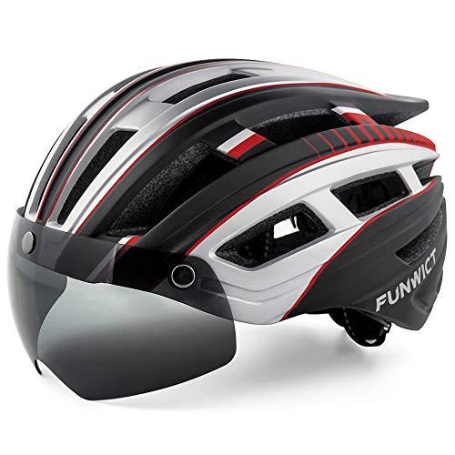 FUNWICT Casco Bici per Uomo Donna Casco Bici da Corsa con Luce LED Occhiali Magnetici Staccabili Visiera Leggero Casco Ciclismo 57-61 CM