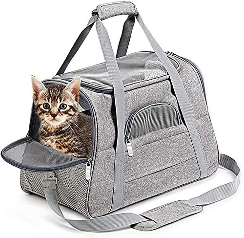 SCYMYBH Mochila de Perro Mascota Transpirable y Plegable para Mascotas, Caja de Transporte de Gatos, diseño ventilado, Entrada de Dos Caras, Bolsa de Transporte para Viajar