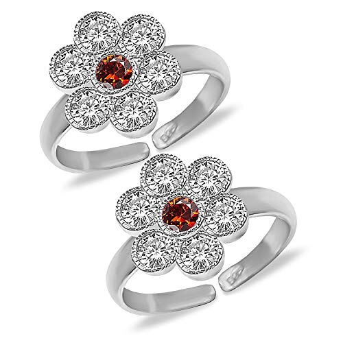 Buy MJ 925 Pure 92.5 Sterling Silver Toe Ring Embellished with CZs for  Women at Amazon.in