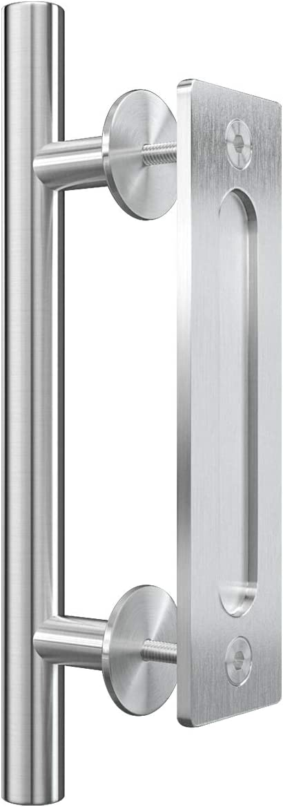 Genius Iron 12 Inch Barn Door Handle, Pull and Flush Sliding Barn Door Handle Set for Gate Kitchen Furniture Cabinet Closet Drawer, Modern Style, Stainless Steel