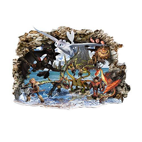 Interpaw Come addestrare Il Tuo Drago 2020 3D Adesivi murali in Stile Fumetto per camere da Letto per Ragazzi e Ragazze Decalcomania murale Grande 80 cm x 53 cm