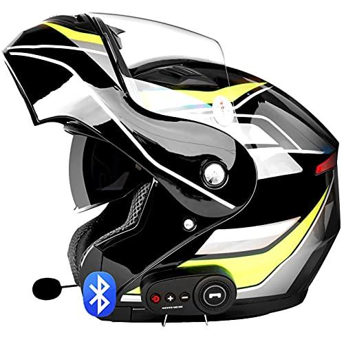 Casco Bluetooth Para Motocicleta,Casco Certificado por ECE,Casco Completo Modular con Visera Solar Doble Tipo Abatible para Adultos, Mujeres y Hombres G,L=59~60cm