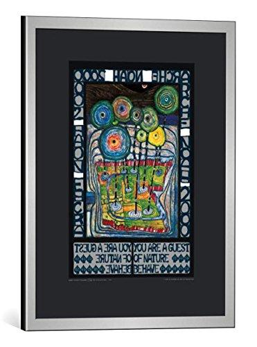 kunst für alle Bild mit Bilder-Rahmen: Friedensreich Hundertwasser Arche Noah - dekorativer Kunstdruck, hochwertig gerahmt, 40x50 cm, Silber gebürstet
