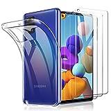 TOPACE 3 Stück Panzerglas + 1 Handyhülle für Samsung Galaxy A21S Schutzfolie, Ultra Dünn 9H Festigkeit HD Blasenfrei Anti-Kratzer Anti-Öl wirtschaftlicher Glas Bildschirmschutzfolie für Samsung Galaxy A21S