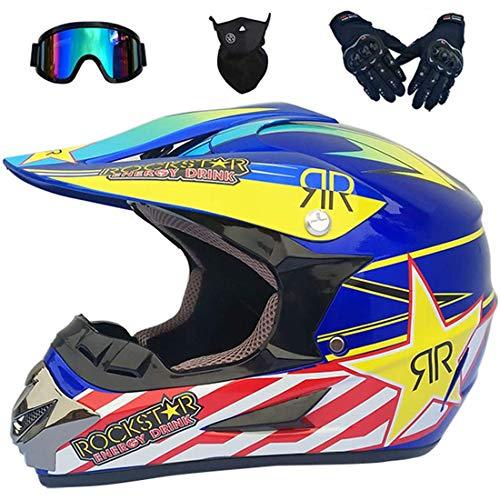 Casco de moto, conjunto de casco de motocross, equipo de protección para casco de choque de motocicleta todoterreno para niños y adultos con gafas, guantes, máscara para Dirt Bike BMX MTB