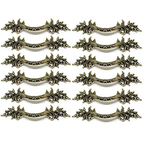 FBSHOP(TM) 12pcs European Style,Antique Door Drawer Knob,Kitchen Cupboard Pull Handle,Vintage Dresser,Classical Wardrobe Cabinets & Vanity Knobs and Handles (Hole spacing:76mm)