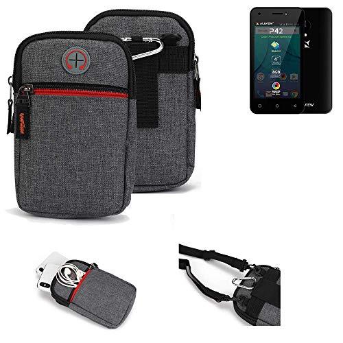 K-S-Trade® Gürtel-Tasche Für Allview P42 Handy-Tasche Holster Schutz-hülle Grau Zusatzfächer 1x