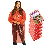 Rain Poncho Disposable, Clear Adult Raincoat with Hood, 6 Pack Raincoat for Men Women, Emergency Waterproof for Theme Parks, Hiking, Camping, Sports Events and Rainy Outdoors (6 Pack Red)