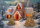 5D Diamond Art Painting Full Drill Kits, Awesocrafts Winter Snow Scene House Christmas Tree DIY Mosaic Cross Stitch for Adults Kids (Snow Scene 6)