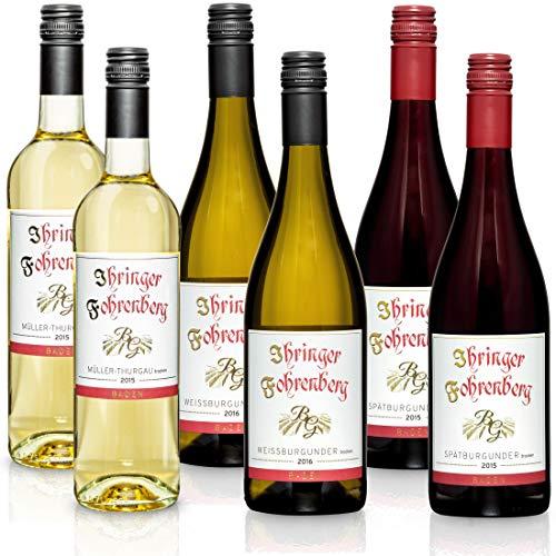 FEINSTE WEINE Weinset \'Ihringer Fohrenberg\' Probierselektion mit Weinen aus dem Kaiserstuhl weiß/rot, Paket mit:6 Flaschen