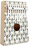 Mbira Finger Piano Flamingo Kalimba Thumb Piano 10 Keys Flamingos with Exotic Hawaiian Leaves Flowers on Striped Vintage Background Portable Mbira Finger Piano Music Gifts for Kids and Adults Beginne