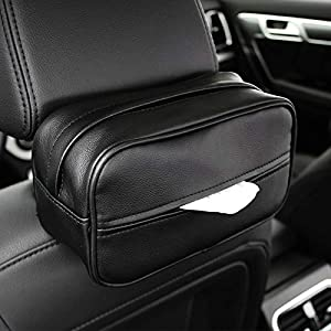 WOYBAOF Car Tissue Box Leather Car With Creative Hanging Sun Visor Tissue Box Multi-function Car Sunroof Tray Tissues Boxes Bulk  Color Black