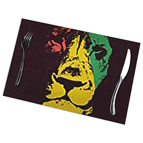 Conjunto De Manteles Individuales Marley Green Lion Head Rasta Wildlife Red Bob Reggae Judah Jamaica Color Black Bobanimals Conjunto De 6 Manteles Individuales Mesa De Comedor Valentine'S Day