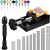 37 Pieces Hand Drill Set, Include Pin Vise Hand Drill with Mini Drills, Twist Drills and Bench Vice for Craft Carving DIY