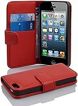 Cadorabo Hülle für Apple iPhone 5 / iPhone 5S / iPhone SE - Hülle in Inferno ROT – Handyhülle mit Kartenfach aus struktriertem Kunstleder - Case Cover Schutzhülle Etui Tasche Book Klapp Style