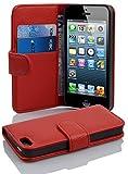 Cadorabo Coque pour Apple iPhone 5 / iPhone 5S / iPhone Se / 5G Rouge Cerise Housse de Protection Etui Portefeuille Case Cover pour iPhone 5 / 5S / Se / 5G – Fente pour Carte