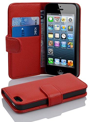 Cadorabo Hülle für Apple iPhone 5 / iPhone 5S / iPhone SE in Inferno ROT – Handyhülle aus Strukturiertem Kunstleder mit Standfunktion & Kartenfach – Hülle Cover Schutzhülle Etui