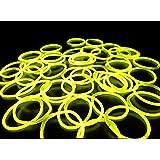 《イエロー(その他9色あり)》 ルミカ社製 サイリウムブレス 単色50本セット サイリュームライトで光るブレスレット ダンスやフェス コンサートにも