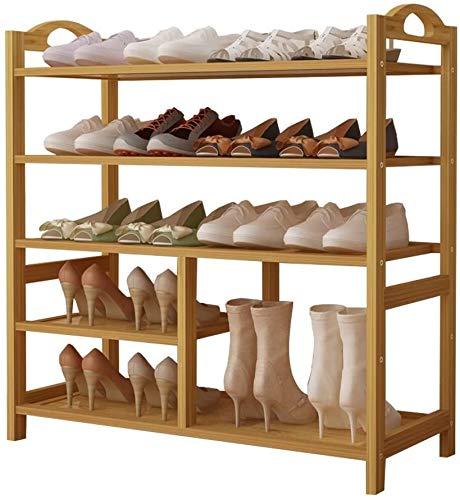 ZouYongKang Tallera de zapatos de 5 niveles, estante de zapatos de madera 100% natural, estante de zapatos apilable, ranura de zapatos estrecha, estante de zapatos de entrada, madera de zapatos pequeñ