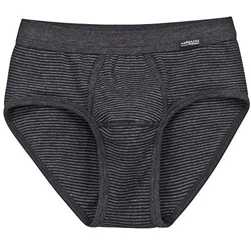 Ammann 2er Pack Herren Slip – Brief mit Eingriff – Unterhosen aus Baumwolle und Polyester – Doppelpack – Farbe Anthrazit - Größe 6