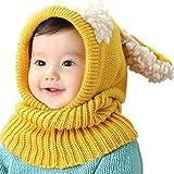 UMIPUBO Bambini Scialle Cappello Autunno Berretti Inverno Maglia Sciarpa Cappelli Protezione del Bambino Orecchie Carine Cappello (Giallo)