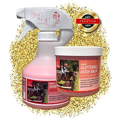 EMMA paardenverzorgingsset kinderen 2-delig I manenspray, staartspray roze + geur voor paard & pony I glitter huffet roze & geur I inhoud poetsdoos I geschenk paarden meisje