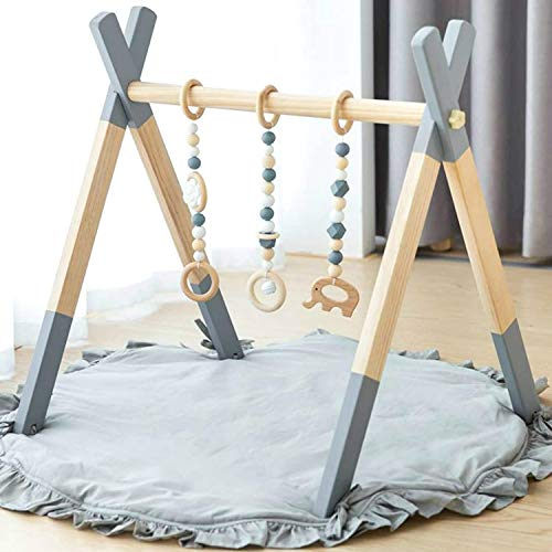 Baby Gym Wooden, Avrsol Infant Activity Gym with Mat Baby Play Gym Frame Hanging Bar, Baby Newborn Gift, Grey - New Version