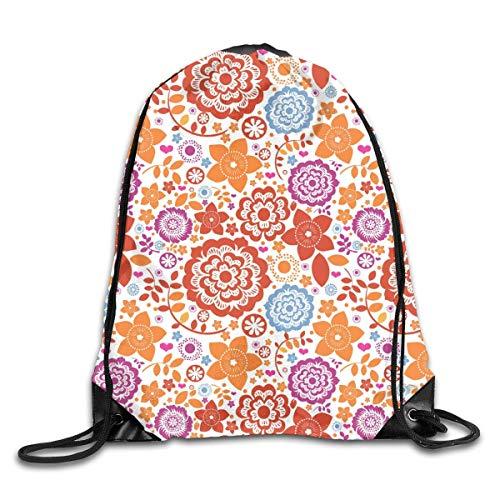 shenguang Seamless Flower Paradise Orange Drawstring Sports Backpack Gym Yoga Sackpack String Bag Travel Storage Sack For Women And Men Suitable For School Swim Running Beach Outdoor