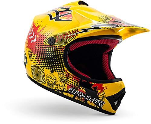 "armor HELMETS® AKC-49 ""Yellow"" · Kinder Cross-Helm · Motorrad-Helm MX Cross-Helm MTB BMX Cross-Bike Downhill Off-Road Enduro-Helm Moto-Cross Sport · DOT Schnellverschluss Tasche M (55-56cm)"