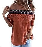 Elesoon Camiseta de verano para mujer, estilo azteca, bohemio, étnico, fuera de los hombros, algodón, lino, liso, manga corta, blusa, A-naranja., 44