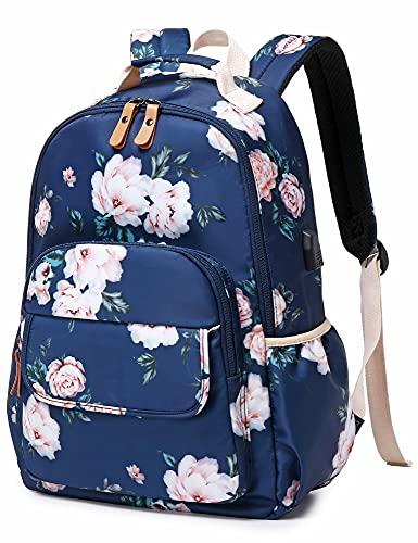 Leaper Wasserabweisender Schulrucksack mit Blumenmuster für Mädchen - - Large