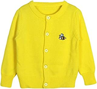 f0892672ff Baby Little Girls Kids Spring Autumn Cute Bee Embroidery Knit Cardigan  Front Button Sweater