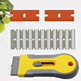Adjustable Scraper Cleaning Tool for Ceramic Hotplate Hob or Glass Oven Door, Plastic Razor Blade Scraper, Retractable Razor Scraper Set with 12 Blades, for Scraping Labels, Stickers