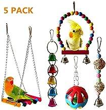 PUBAMALL Bird Swings Toys, Hanging Bell, Bird Cage Chew Toy