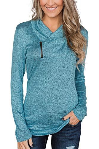 Yidarton Damen Sweatshirt Wasserfallausschnitt Pullover Kordelzug Rollkragen Langarmshirt Tunic Top Oberteil (Z-Hellblau, XXX-Large)