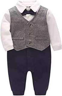 Feidoog Newborn Gentleman One Piece Long Sleeve Baby Boys Gentleman Formal Tuxedo Outfit Suit