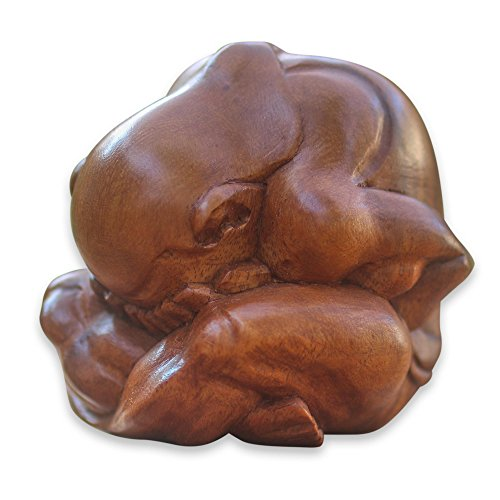 NOVICA Brown Yoga Suar Wood Sculpture, 3.2' Tall 'Meditating Yogi'