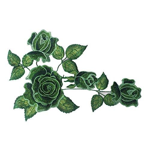 1 parche de tela de encaje con diseño de flores 3D en color verde para coser y coser accesorios (verde)