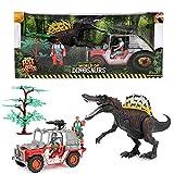 Toi-Toys 37503B World of Dinosaurs - Set da gioco con grande dinosauro, 2 racchette e una Jeep