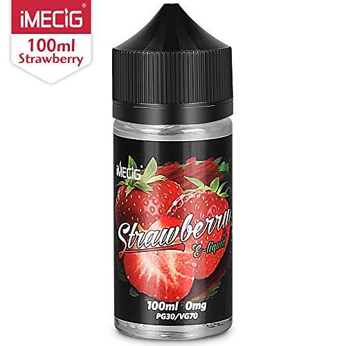 IMECIG Líquido E para cigarrillos electrónicos, líquido de fresa Vape100ml, humo fresco y grande, sin nicotina