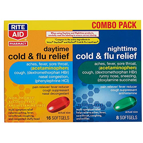 Rite Aid Daytime and Nighttime Cold and Flu Medicine - 24 Count | Cold and Flu Relief | Combo Pack